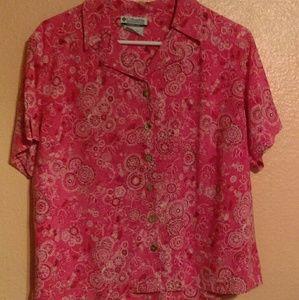 Columbia pink bandana print button down shirt